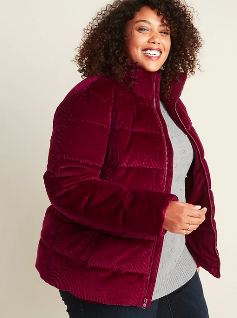woman wearing a corduroy puffer coat